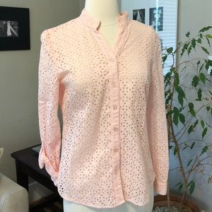 Pink Eyelet Mandarin Collar Button Down Top S